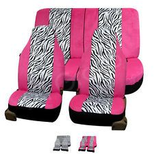 FH-FB121112 Zebra Print Car Seat Covers Airbag Ready & Split Bench Pink & White