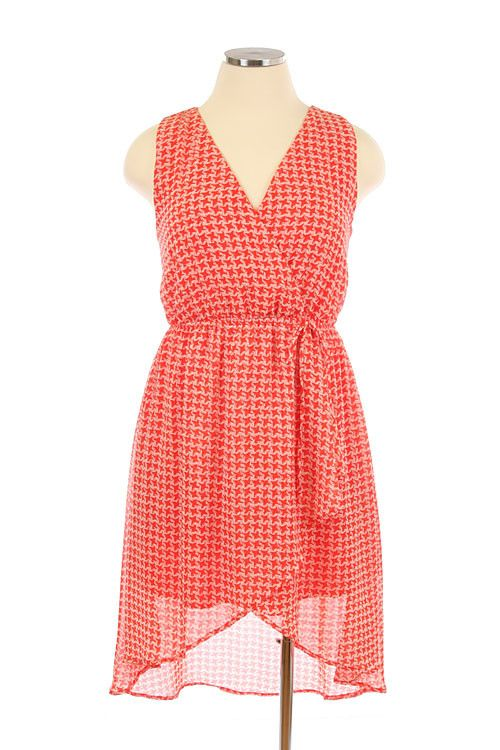 Swept Away Houndstooth Chiffon Plus Size Dress in Coral