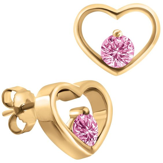 Pink Sapphire, 10k Gold Heart Earrings