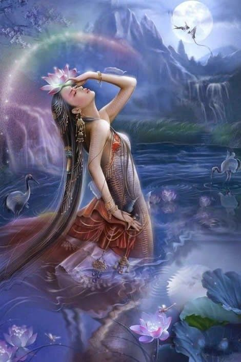 """Ki is the Sumerian Goddess of the earth. In Sumerian mythology, she is the daughter of Nammu, Goddess of the primordial sea. In the later Babylonian mythology, she is the daughter of Anshar and Kishar. In either case, she is the sister/wife of Anu, God of the sky, and mother by him of the Anunnaki, including Enlil, God of the air. Ki was eventually supplanted by Ninhursag as the Great Mother. Her name means """"earth."""":"""