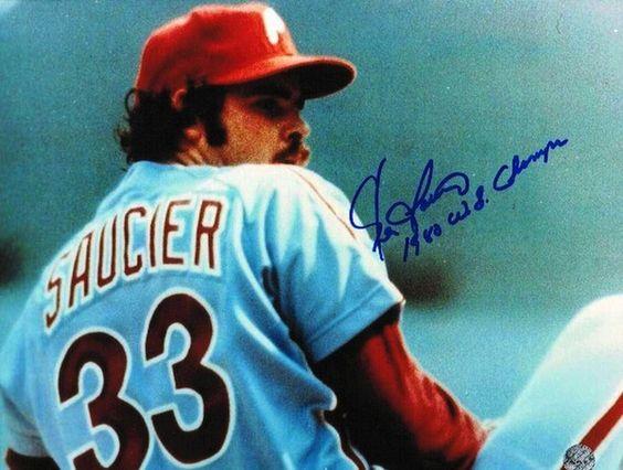 "Autographed Kevin Saucier Philadelphia Phillies 8x10 Photo Inscribed """"1980 WS Champs"""""