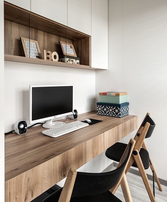 A Floating Thick Desk With Drawers Is A Great Idea For A Comfy Modern Home Office Home Office Design Contemporary Home Office Home Office Furniture