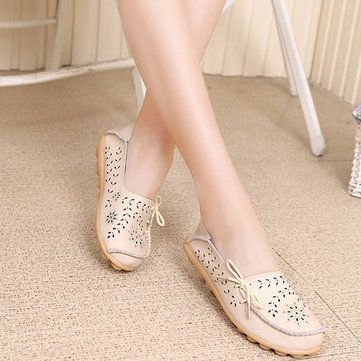 Hot-sale Big Size Leather Hollow Out Floral Breathable Soft Comfy Lace Up Flat Shoes - NewChic