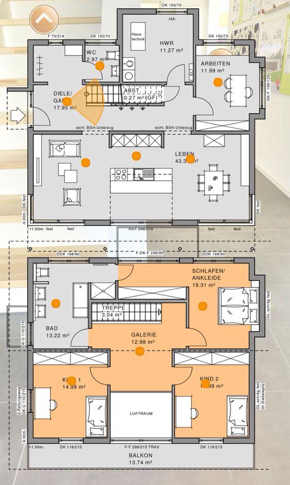 17 best images about wohnideen grundriss grundrisse for Grundriss modernes einfamilienhaus
