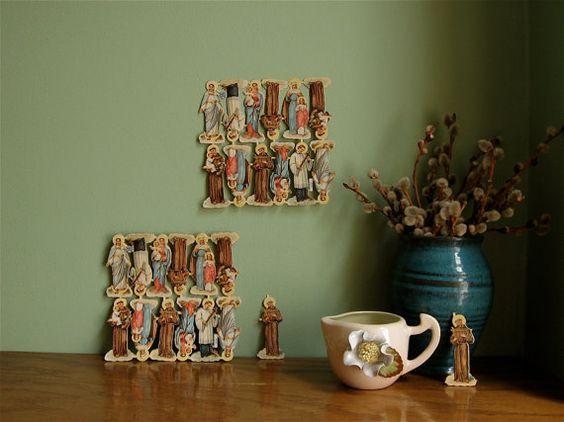 papel ephemera 12 santos recortes em relevo meados do século suprimentos decoupage colagem