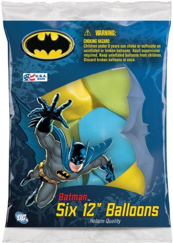 """Batman 12"""" Assorted Color Balloons, 6 Pack Of 6 Count, 2015 Amazon Top Rated Water Balloons #Toy"""
