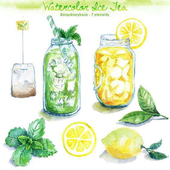 Watercolor Ice Tea Clip Art - digital printable item - 300 ...