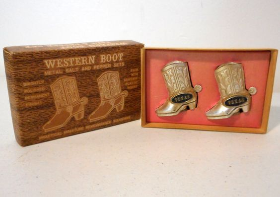 Texas Cowboy Boots Salt and Pepper Shakers by honeyblossomstudio