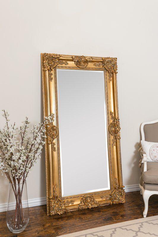 Mayfair Leaner Full Length Mirror Gold Floor Mirror Body Mirror Gold Mirror Bedroom Ornate full length mirror