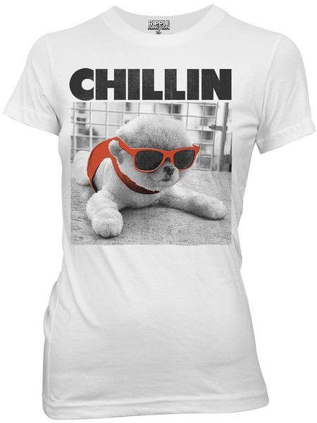 Boo the Dog Chillin with Sunglasses Puppy Juniors White T-shirt from HauntedFlower.com