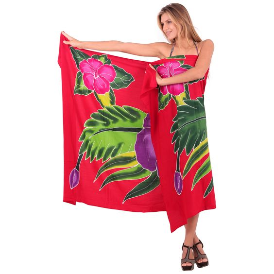La Leela Women's 78-inch x 43-inch Pareo Beach Coverup With Sarong Clip