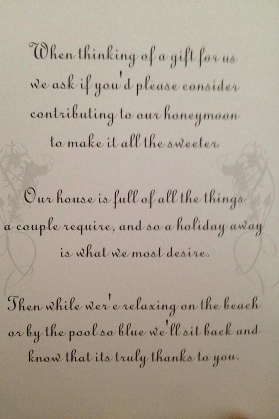 Wedding Gift Contribution Message : Cute idea to ask for honeymoon donations instead of gifts