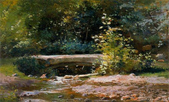 Jardín con estanque  \\ José Salís ( Spanish, 1863-1926)