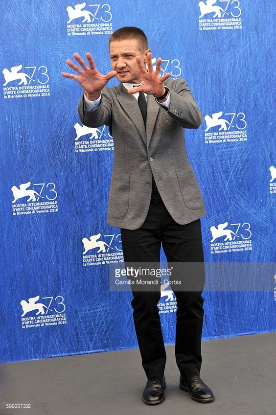 Jeremy Renner attends the premiere of 'Arrival' during the 73rd Venice Film Festival at on September 1, 2016 in Venice, Italy.