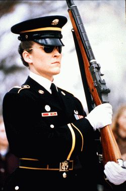 Sgt. Heather Lynn Johnson is the first woman to guard the Tomb of the Unknowns at Arlington National Cemetery.