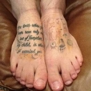 Last line of the footprints tattoo done by Collin Kolker from Red Sky Tattoo.