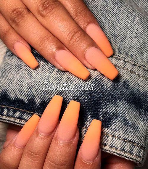 Cute Matte Ombre Orange Coffin Shaped Nails Shiny Nails Designs Ombre Acrylic Nails Coffin Shape Nails