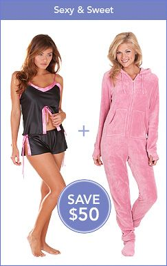 SEXY & SWEET: Midnight Fantasy Baby Doll Tap Set & Pink Hoodie-Footie