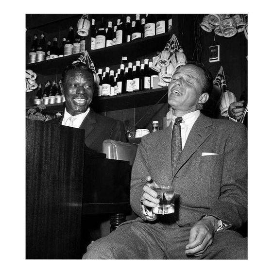 Nat 'King' Cole and Frank Sinatra at the Villa Capri 1955