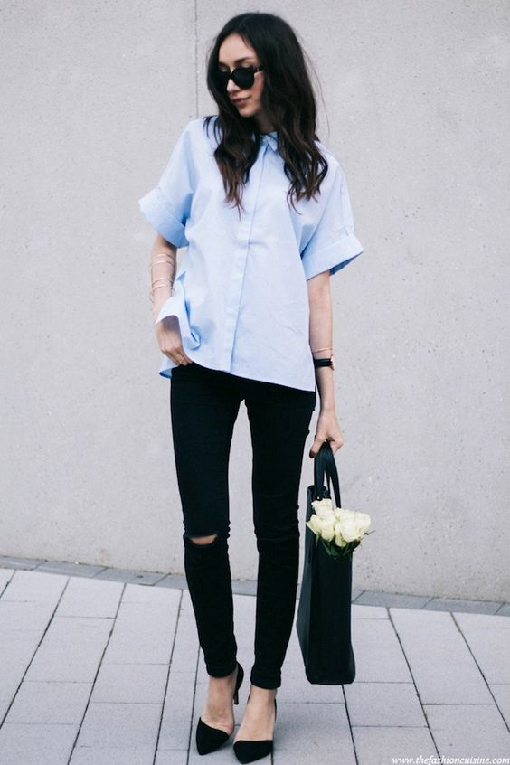 sunglasses, boxy short sleeve blue button-down shirt, ripped black jeans, tote & d'orsay heels #style #fashion #classic