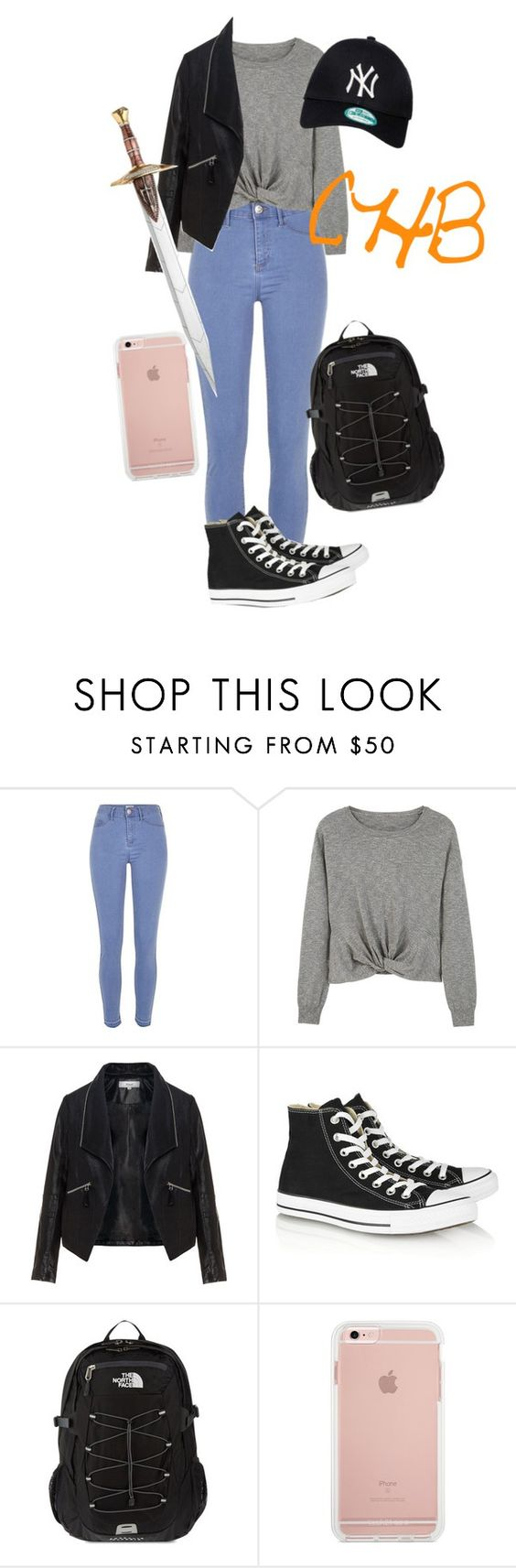 """""""CHB Quest"""" by queen0michelle ❤ liked on Polyvore featuring River Island, MANGO, Zizzi, Converse, The North Face and New Era"""