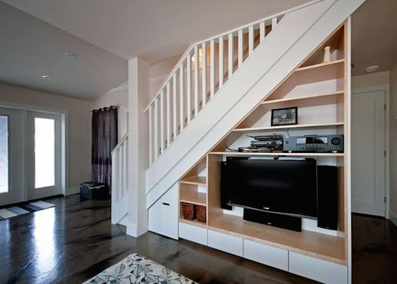 Arts And Crafts 750 Laneway Small House By Smallworks 02 Space Under Stairs Staircase Storage Stairs Design