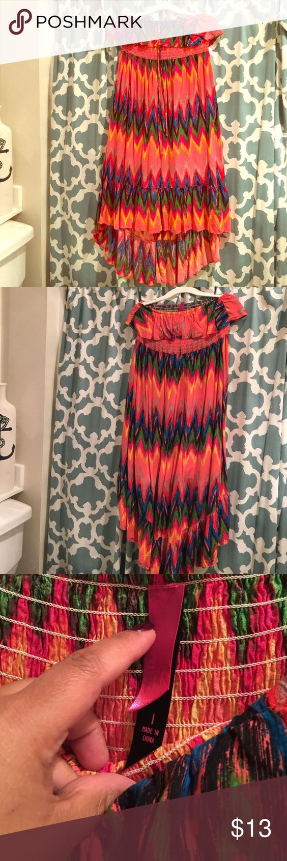 Pure one strapless maxi dress Dress is from Target plus size line (Pure One) size 1 = 2x. It is a high low dress. Worn a few times when I was pregnant. In EUC. Pure  one  Dresses High Low
