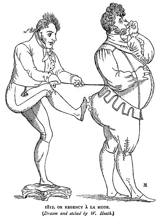 "Caricature of the Prince Regent as an aging dandy or ""fat Adonis of fifty"" by W. Heath, redrawn for Social England under the Regency by John Ashton, 1899"