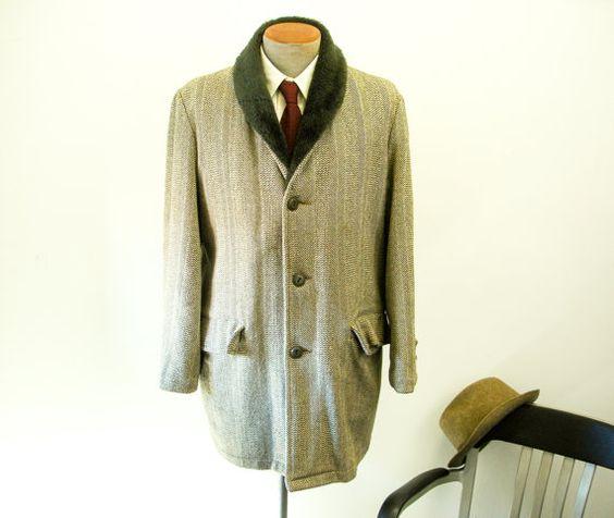 1960s Mens Dress Coat Vintage Herringbone Tweed Wool Blend Winter Dress Coat with Brown Faux Fur Collar by Woodsman - Size 42 - 44 (LARGE) on Etsy, $68.56 AUD