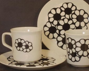 Pair of  Mod Johnson Brothers Ironstone Cups and Saucers - Set of Two-Black and White-Flower Power