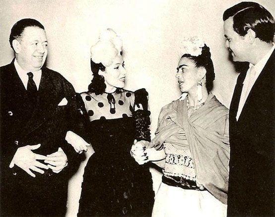 Diego & Frida with Dolores del Rio & Orson Welles, Mexico, 1942