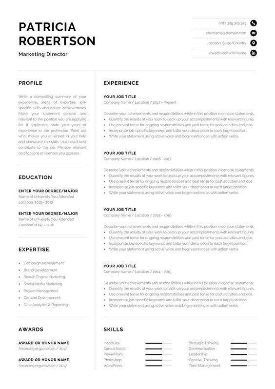Professional 1 Page Resume Template Modern One Page Cv Etsy Cv Words Resume Template Professional Good Resume Examples