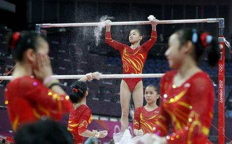 2012 Chinese Olympic Artistic Gymnastics Team and Li-Ning Red and Yellow Sashes Leotard