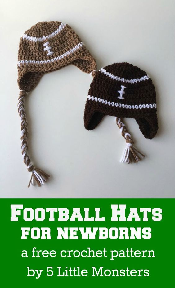 Newborn crocheted football hats: