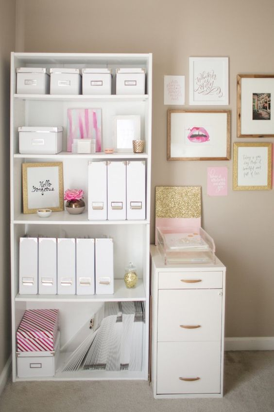 The Prettiest Organizational Hacks for Every Room in Your Home via Brit + Co. ~ glitter and pink office set up: