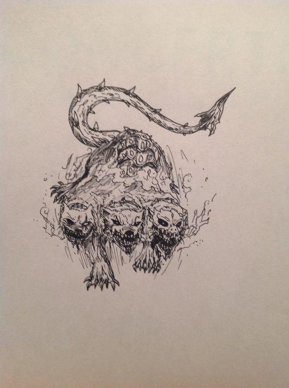 cerberus the three headed hellhound drawings pinterest the o 39 jays. Black Bedroom Furniture Sets. Home Design Ideas
