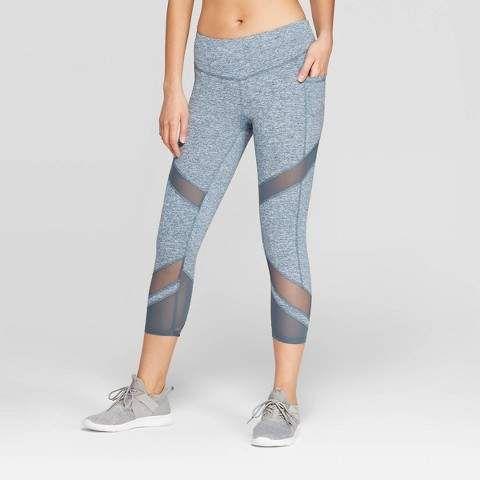 Champion Women S Studio Mid Rise Capri Leggings 20 Blue Gray Xxl Sponsored Affiliate Mid R Capri Leggings Workout Leggings With Pockets Mid Rise Leggings