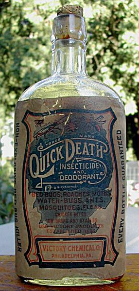 Insecticide And Deodorant all in one. Quick Death ''It does exactly what it says on the tin'' . (Victorian era)