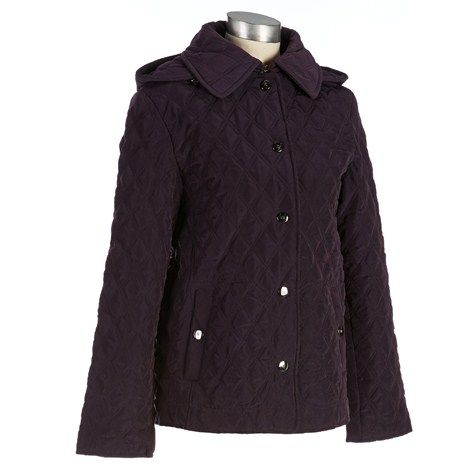 Quilted Coat with Hood- Plus