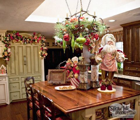 Christmas Kitchen Counter Decorations Garland Over The Hutch In Or Pot Rack