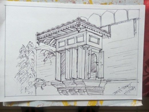 My pen sketch at historic parvati hill temple pune india this temple was