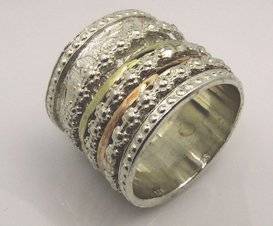 Spinner ring for woman   romantic floral BOHO designer jewelry   spinning silver gold rings Made in israel