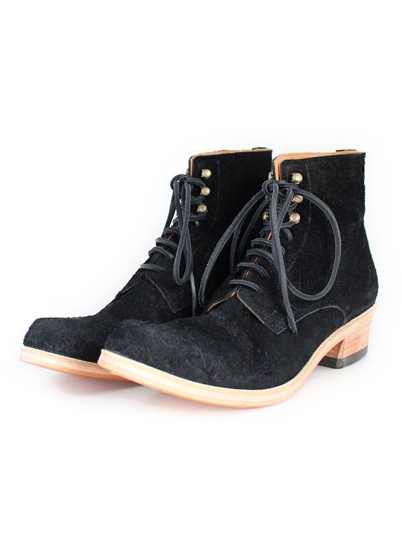 MOTORATORY LADY'S NIBE LEATHER PLANE TOE HI-CUT BOOTS BLACK