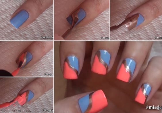 Nail art en tres colores - http://xn--decorandouas-jhb.com/nail-art-en-tres-colores/