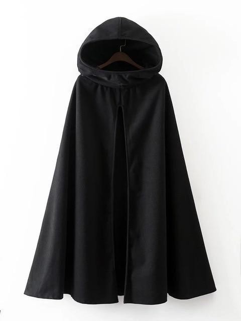 Women Hooded Cape Cloak Party Coats Jackets Poncho Outwears Oversized Halloween