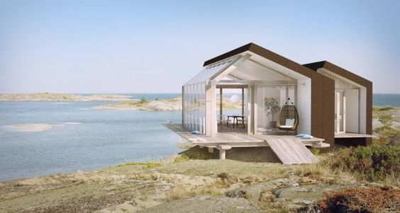 Swedish prefab summer house cabin via gardenista cabins for Prefab beach cottage