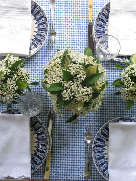 Vintage botanical plates, wildflowers with hosta, monogrammed silverware, blue gingham fabric remnant | Eddie Ross