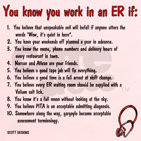 You know you're an ER nurse if...