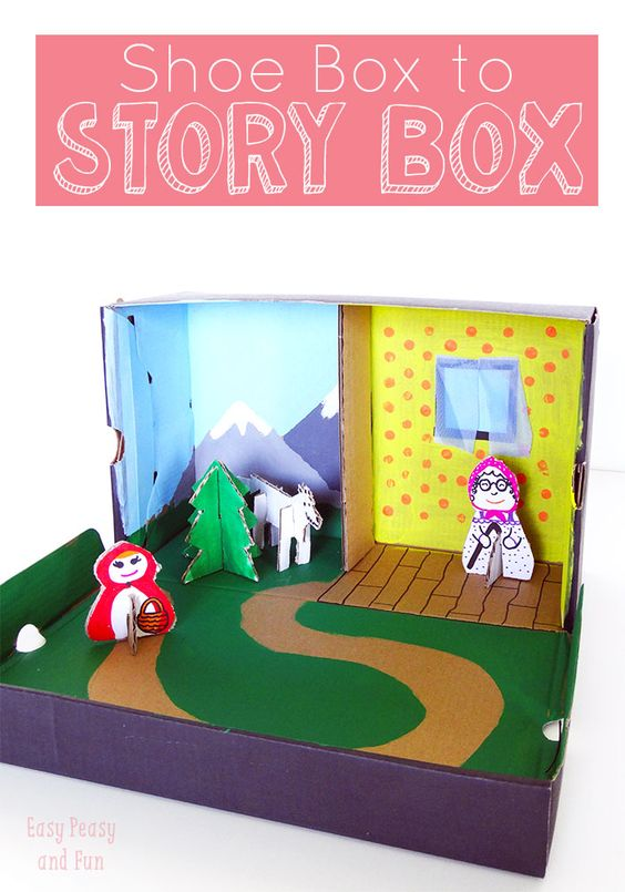 Childrens White Cardboard Shoe Box