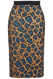 Leopard Print Scuba Tube Skirt